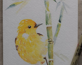 Little Yellow Bird Playing Among Bamboo Trees watercolor painting card-Prints only