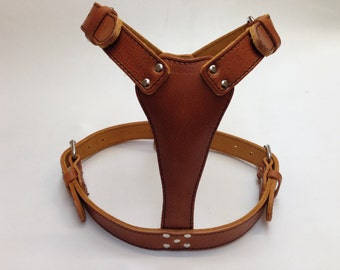 Beautiful Hand Made Large Leather Plain Dog Harness 13 Colors