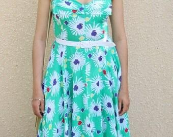 Green dress flared to ramp size 37 Emmanuelle Khanh Vintage 80 s