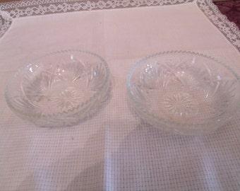 Set of Two Vintage Clear Glass Dessert Bowls