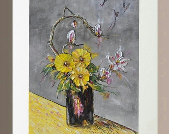 Original Oil Painting - Yellow Anemones and Franchipani in Black Vase