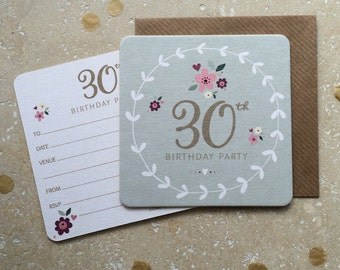 30th Birthday Party Coaster Invitations