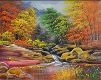 Landscape Oil Painting - Autumn River with Red Trees