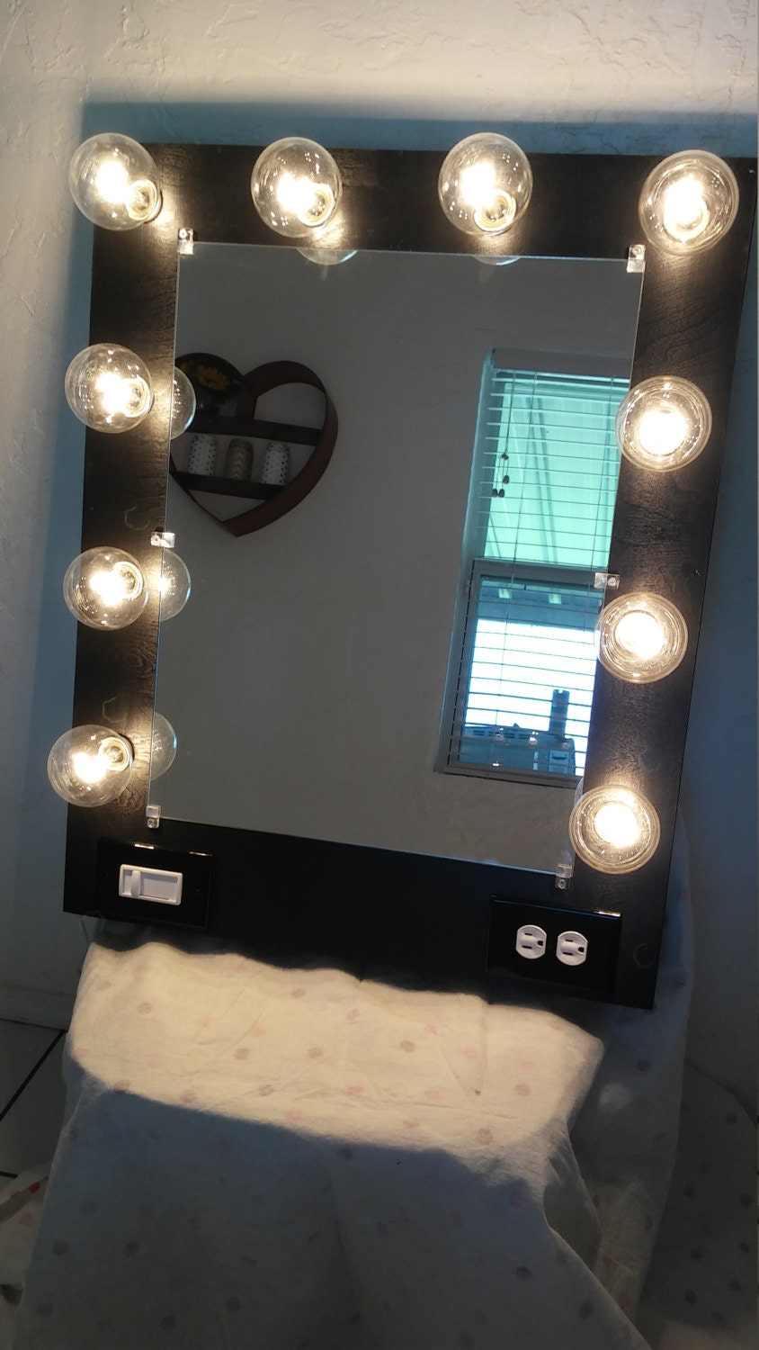 Vanity Mirror With Lights Etsy : Vanity mirror with lightsDimmer and 2plug outlet