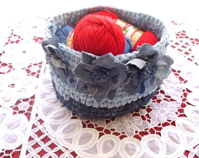 crochet denim basket, recycled crochet jean basket, upcycled denim basket
