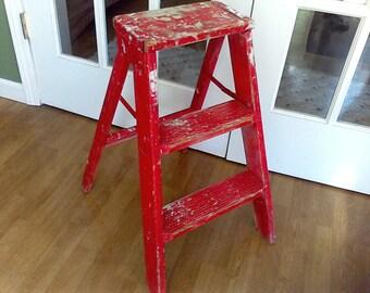 Rustic step ladder ,wooden folding ladder, vintage display stand