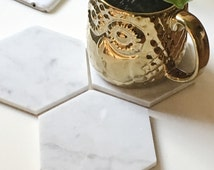 Large Natural Carrara Marble Hexagon Geometric Coasters. Set of 2, 4, 6.
