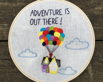 Adventure is out there hoop, nursery decor, hoop art, hand embroidery