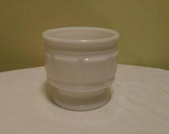 Vintage Milk Glass Randall Flower Planter Vase with White Sqaure Pattern