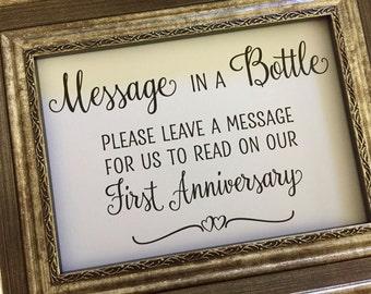 Message in a Bottle Wedding Sign,Wedding Wishes Wedding Sign,5x7 Printed Wedding Sign,Message in a Bottle Charming Wedding Sign