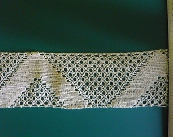vintage openwork geometric patterned cotton lace
