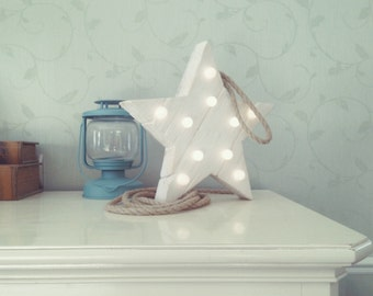 star nightlight / wooden nightlight / aged wood