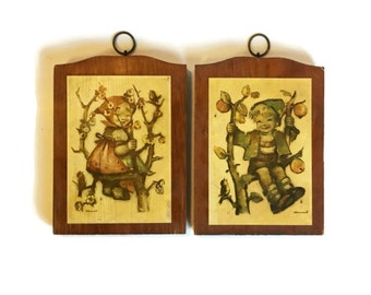Vintage Hummel Wooden Wall Plaques, Set of 2 Vintage Wall Decor, Vintage Wall Art, Fall Decor Harvest Decor, Vintage Nursery Decor, Fall Art