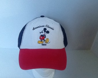 Vintage 90's ? New Old Stock  Disney Mickey Mouse hat cap American Classic 1928 red white blue colors * 1/2 off coupon code inside *
