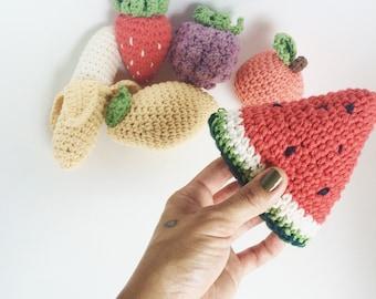 Crochet fruit rattles, crochet rattle, crochet fruit, baby toys, baby shower, rattle, fruit, teething, fruit basket