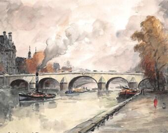 Paris watercolor of Seine river - 22 x 15 cm - 8.7 x 6 inches