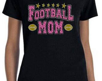 Football Mom pink glitter Tee-Shirt