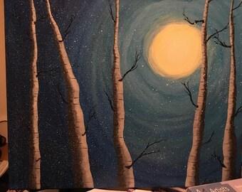 night time birch trees