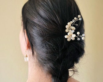 Set of two pins, Bridal hair, pearly white natural and Swarovski