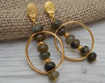 Gold labradorite earrings, Beaded earrings, fashion earrings, disk earrings, dangle earrings, women earrings, drop earrings, stud earrings