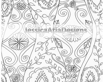 Zen style, flowers, leaves, swirls, henna style, printable colouring page! Instant download!