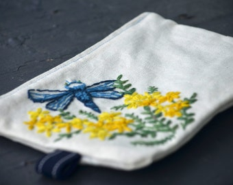 Dragonfly zipper pouch, Dragonfly coin purse, Hand embroidered dragonfly cosmetic bag, Hand embroidered dragonfly pencil case, gadget case