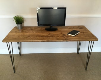 Rustic Wooden Desk 150cm Wide Made From Reclaimed Scaffold Boards & Steel Hairpin Legs - Industrial Urban Upcycle