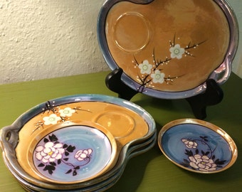 Beautiful Blue and Honey Glazed Appetizer Plate Set
