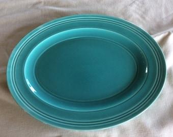 Vintage Crown Ducal oval aqua green Art Deco serving plate