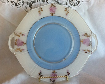 Elegant Art Deco Indiana glass serving handle plate dish inverted Pink roses flowers pattern and soft blue