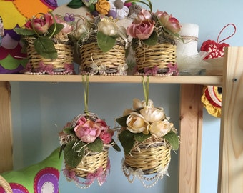 Wicker baskets and fabric flowers