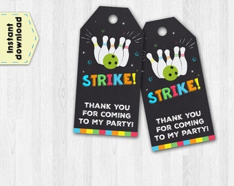 Bowling tags - Bowling thank you tags - Bowling chalkboard tags - Thank you tags - Party favor tags - Party tags