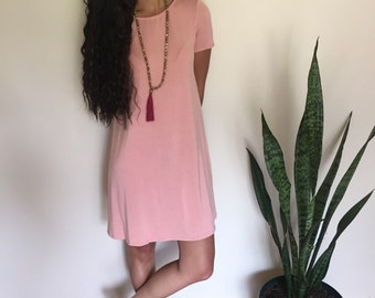 Dusty Coral Shift Dress