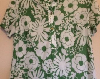 Vintage Green Floral Print Top 1970's