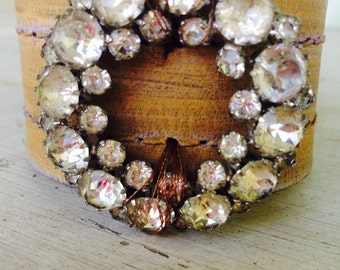 Rhinestone leather cuff rustic belt bracelet