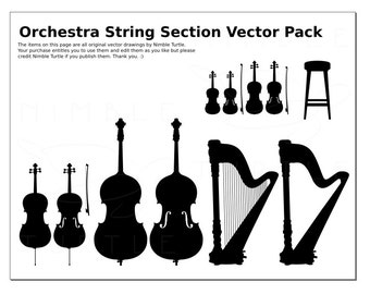 Musical Instruments String Section Vectors - SVG, PDF, EPS - Violin, Viola, Cello, Double Bass, Harp - Silhouettes - cutting machine
