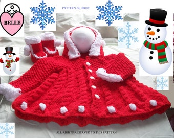 Baby coat and boots snowball set. knitting pattern.