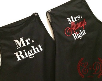 "Couples apron, His hers aprons, Embroidered wedding apron SET of 2 Personalized Aprons ""Mr Right""  & ""Mrs Always Right"" Wedding Shower Gift"