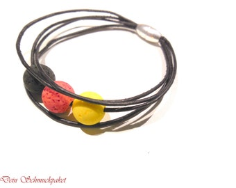Leather Bracelet with lava beads