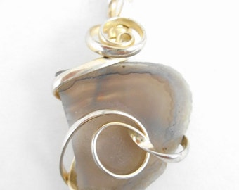 Pendant Necklace Silver Wire Wrapped Agate on Sterling Silver Chain