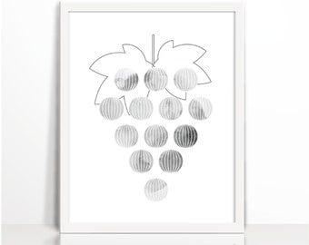 Black and White Grape Kitchen Art print, Watercolor, Geometric Fruit, Art Printable, geometric art, line drawing, kitchen art  print