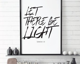Let there be light, Christian Quote, Genesis 1:3,Bible, Printable, Faith Quote, quote print,  Bible verse, Art Printable,  Christian