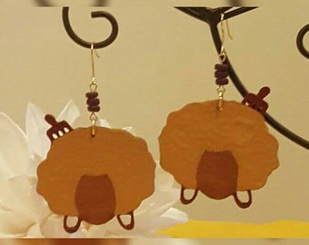 Wooden Afro Chic Earrings