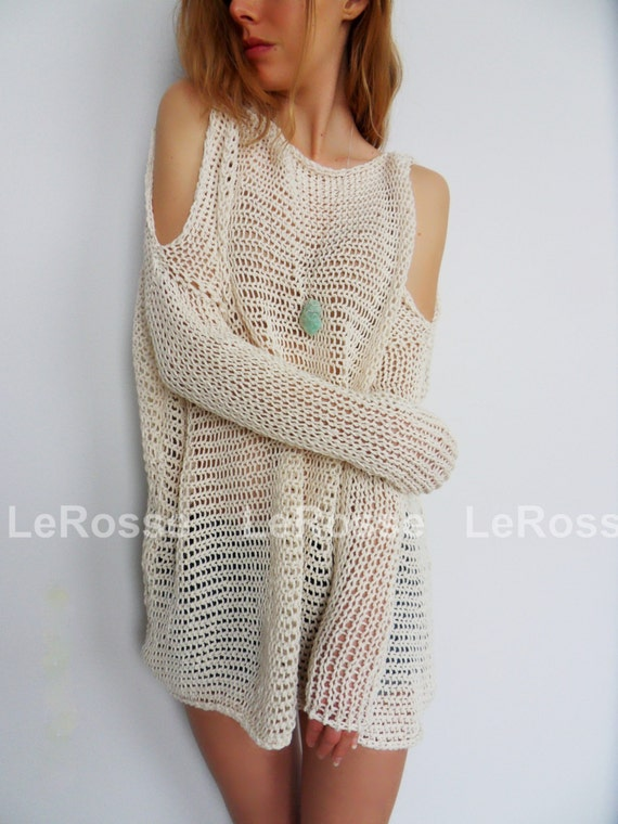 Oversized Slouchy Knit Sweater Tunic Open Shoulders By