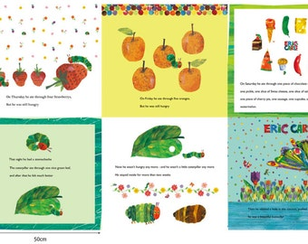 "The Very Hungry Caterpillar By Eric Carle Fabric, 90cm by 150cm or 35.5"" by 57.5"", By the Panel"