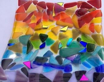 Rainbow fused glass bowl