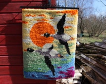 Swedish Wall Hanging, Swedish Scandinavian Vintage Rya Rug Swedish Carpet Hand Woven Wool Mat Woven  Wall Decor, Folk Art Iron Hanger