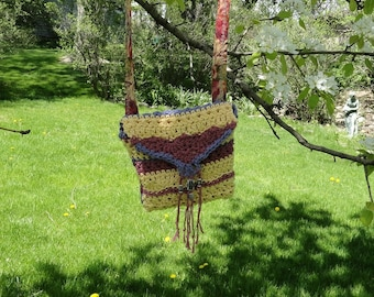 Crocheted Purse  With Inner Pocket and Extra Long Strap