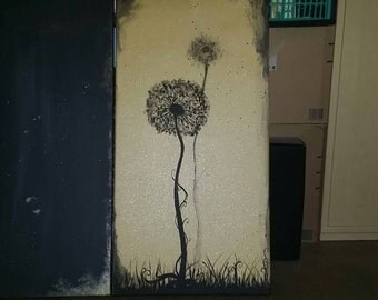 Painting acrylic: 2 x flower, or the reproductive instinct of the dandelion