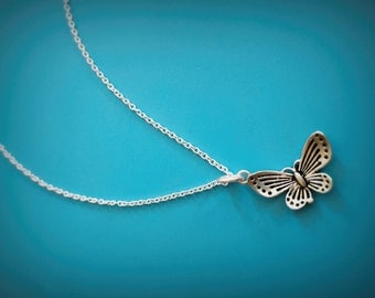 sterling silver butterfly necklace, oxidized silver butterfly necklace, oxidized silver butterfly,butterfly pendant necklace,insect necklace